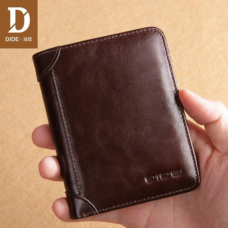 DIDE Short Purse Vintage Wallet Brown Genuine-Leather Women Credit-Card-Holder Oil-Wax