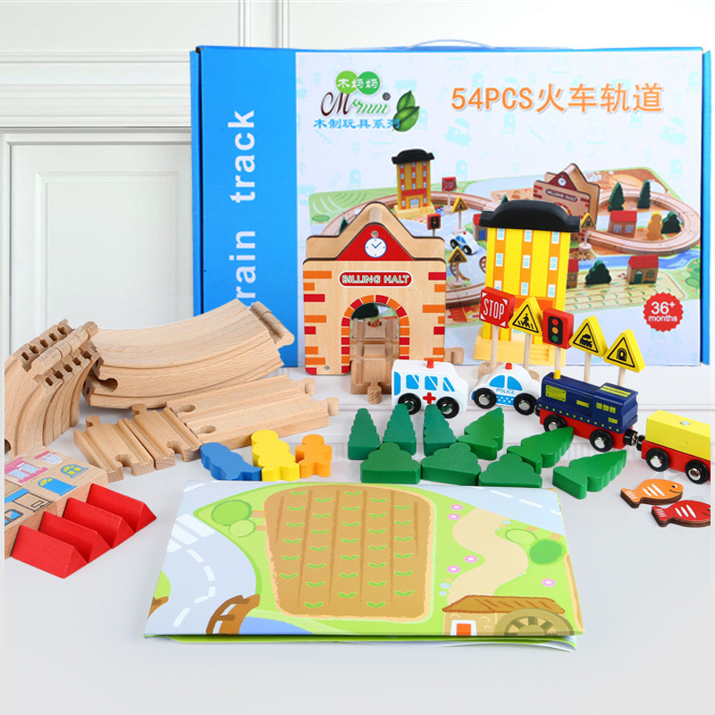 54pcs DIY Educational Kids Train Track Wooden Train Track Set Children Hands-on Wooden Toys Montessori Games for Boys Toys Gifts