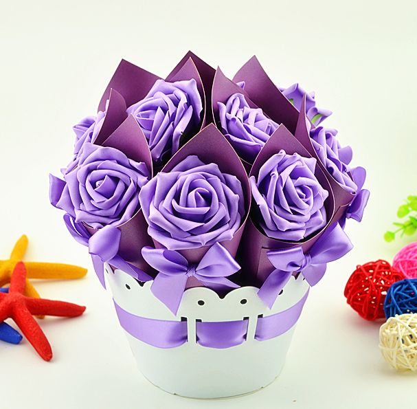 1 Set Creative Romantic Flower Pot Rose Candy Boxes Wedding Favor ...