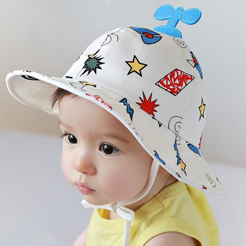 f313e5646 US $7.72 15% OFF 2018 New Baby Hat Helicopter Print Kids Bucket Hat Soft  White Baby Boy Sun Hat Summer Spring Cotton Cute Palace Cap Girls Visors-in  ...