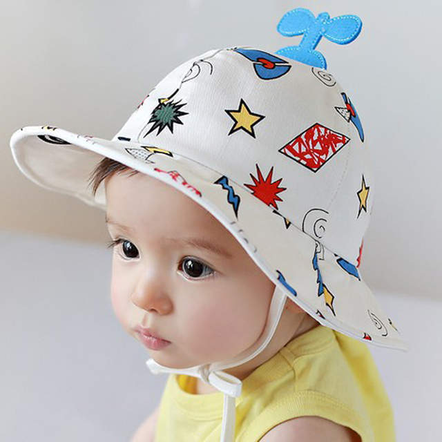 db9ca827bc6 Online Shop 2018 New Baby Hat Helicopter Print Kids Bucket Hat Soft White  Baby Boy Sun Hat Summer Spring Cotton Cute Palace Cap Girls Visors