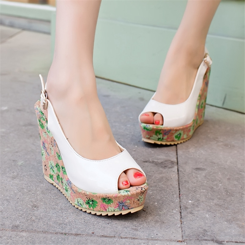 Peep Toe Heels Printing Leather Japanese Summer Style 2016 Multi Colored Korean font b Women b