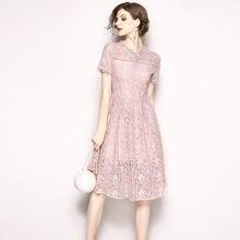 fce7b073e Hollow Out Sommer Kleid flor bordado vestido de encaje mujeres vestidos de  verano largo Casual Robe Femme Ete 2018 vestido de fe.