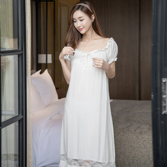 Night dress sexy nightwear Women Nightgowns Cotton white long white  nightgown Lace Casual Home Dress Sleepwear pijama nightdress cdf765446