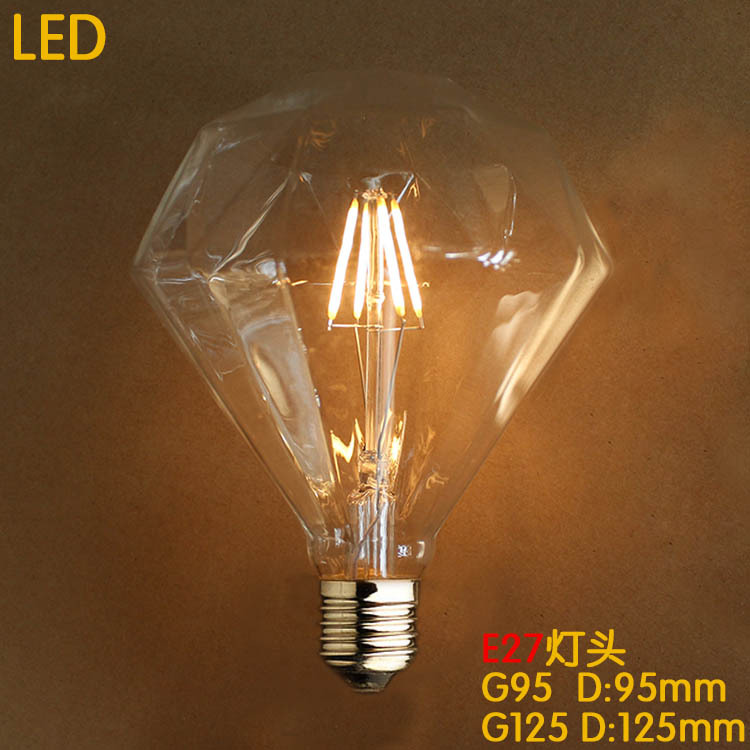 G95 diament 4w e27 220v led retro lampada bombilla vintage for Lampade led 220v