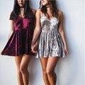 Sexy women dress 2017 новая мода лето dress глубокий V-образным Вырезом Холтер Золотые Бархатные Dress туника бальные платья плюс размер топы