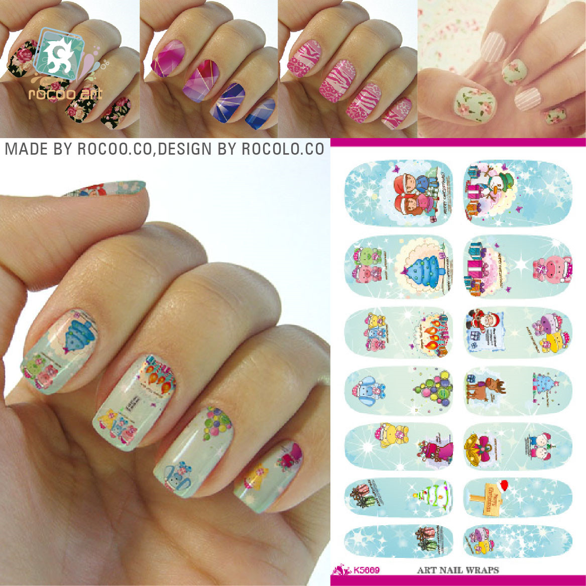 1x Hot Designs Children Image Owl Decals Water Transfer Nails Tips Of Nail Art Stickers