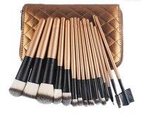 New Fashion Professional 15pcs Makeup Brushes Set Foundation Blusher Powder Eyeliner Kabuki Brush With Gold Zip