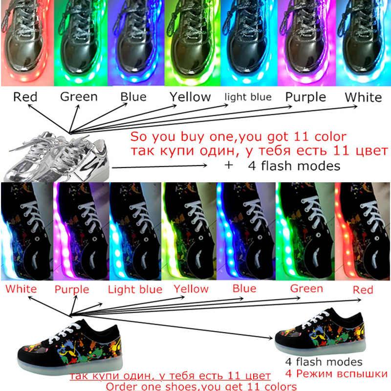 7ipupas led Zapata 7 colores chaussures Kid usb carga luces Led zapatillas emitiendo luces luminosas chico chica calle baile brillante zapatillas de deporte