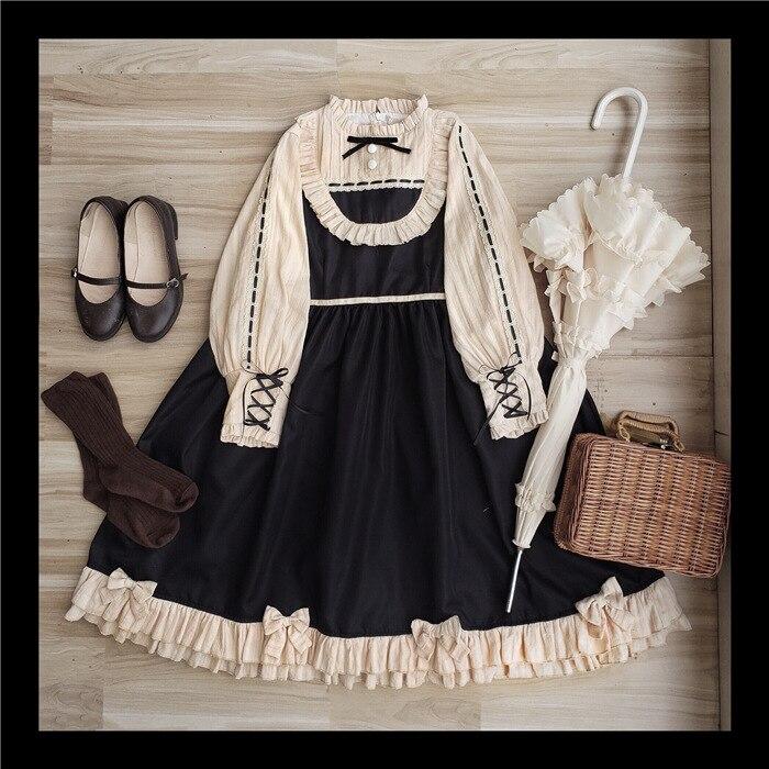 Schuvre ~ Koninklijke Vintage Lange Mouwen Lolita Dress Lantaarn Mouwen Party Jurk-in Jurken van Dames Kleding op  Groep 1