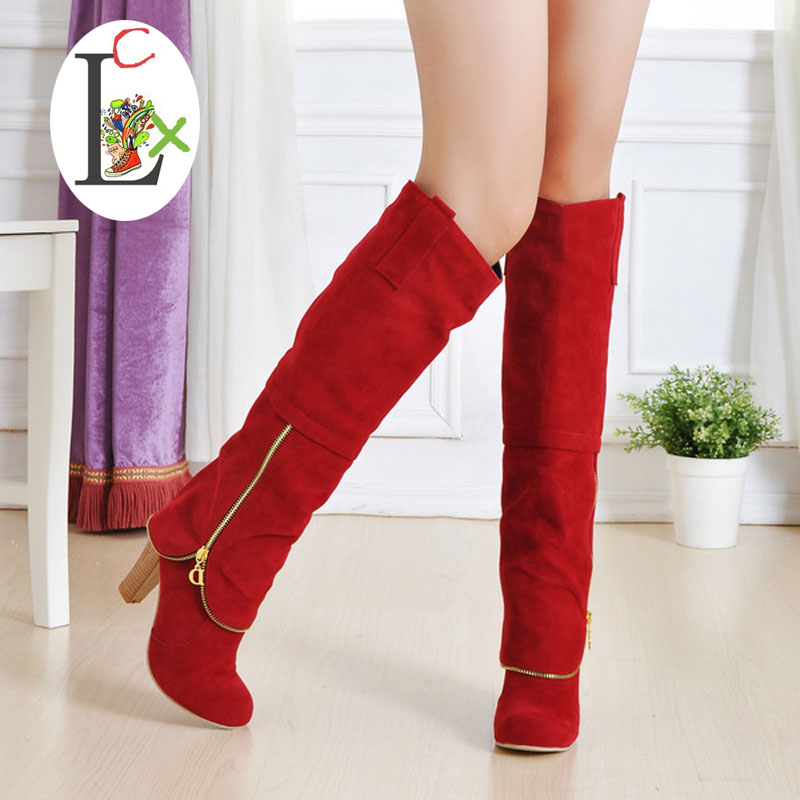women snow boots Hot Autumn winter Knee high boots Newest fashion ladies sexy high-leg zipper boots wholesale Free shipping