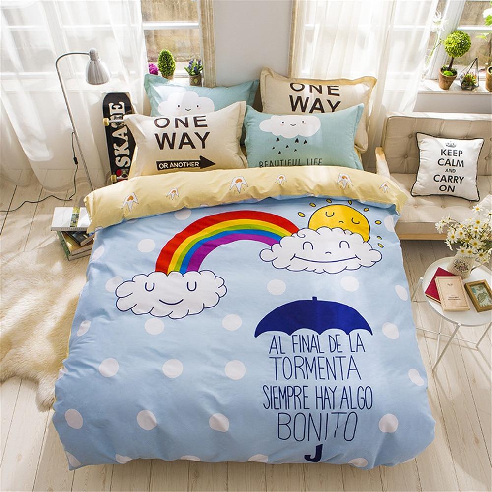 Girls blue bedding - Yeekin New Design Blue And Yellow Bedding Sets 4pcs Boys And Girls Duvet Sets Cartoon Rainbow Pattern Twin Queen Size