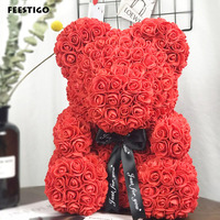 1PCS 25cm/40cm Red Polystyrene Styrofoam Bear Rose Artificial Flower Rose Bear Wedding Decor Birthday New Year Valentines Gifts