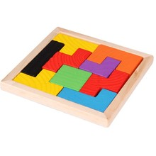 Toys Hobbies - Puzzles  - Wooden Tetris Game Multi-color 3D Wood Puzzle Brainstorming Language IQ Puzzle Children's Game Toys