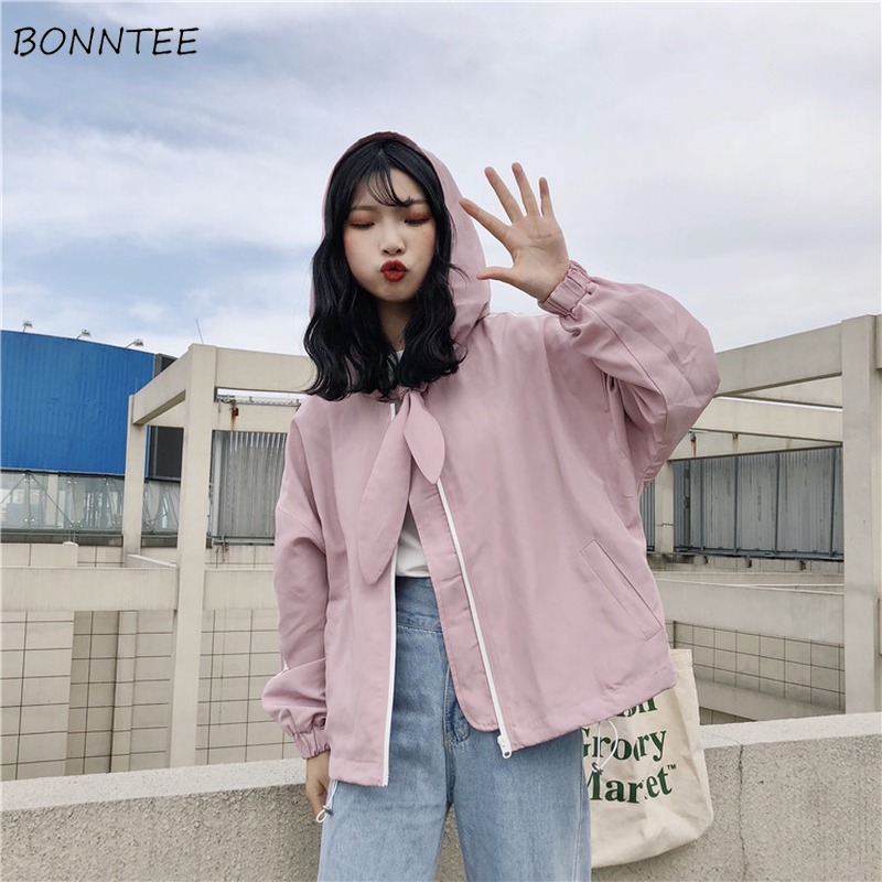 Jackets   Women Summer Loose Thin Kawaii All-match Students Lovely   Basic     Jacket   Korean Style Simple Zipper Womens Daily Trendy New