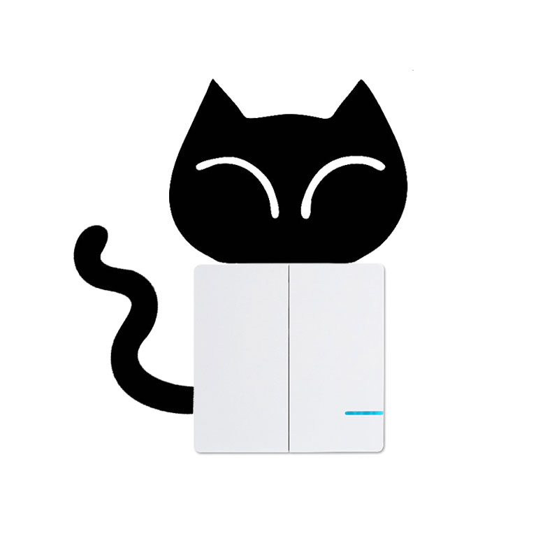 Cute Cat Switch Socket Stickers Funny Waterproof Ornament Automotive Products Home Wall Tuning Accessories for Cars Styling