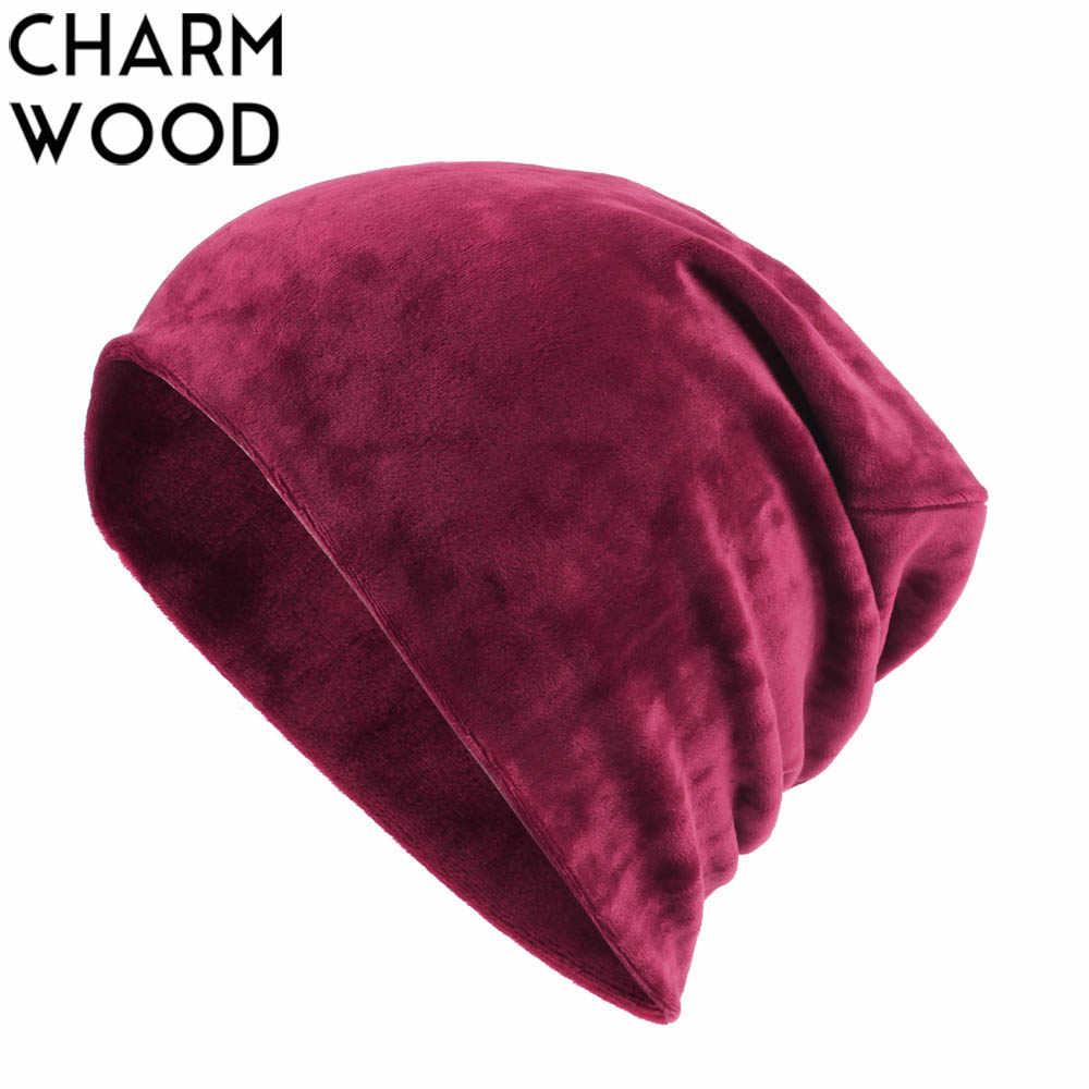 b7abb1e389d Women s Plain Beanie Hat Winter Warm Velour Slouchy Beanies for Women  Female Soft Thick Skullies Beanies Wholesale