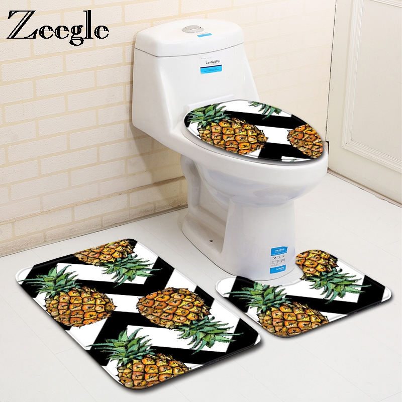 Zeegle Pineapple Printed 3pcs Bathroom Mat Set Anti-slip Floor Mat Bathroom Carpets Soft Toilet Mat and Bath Rug Sets