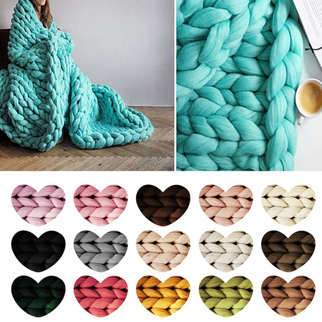 DIY Line Crocheting Soft Knitting Chunky Wool Roving Yarn Arm ...