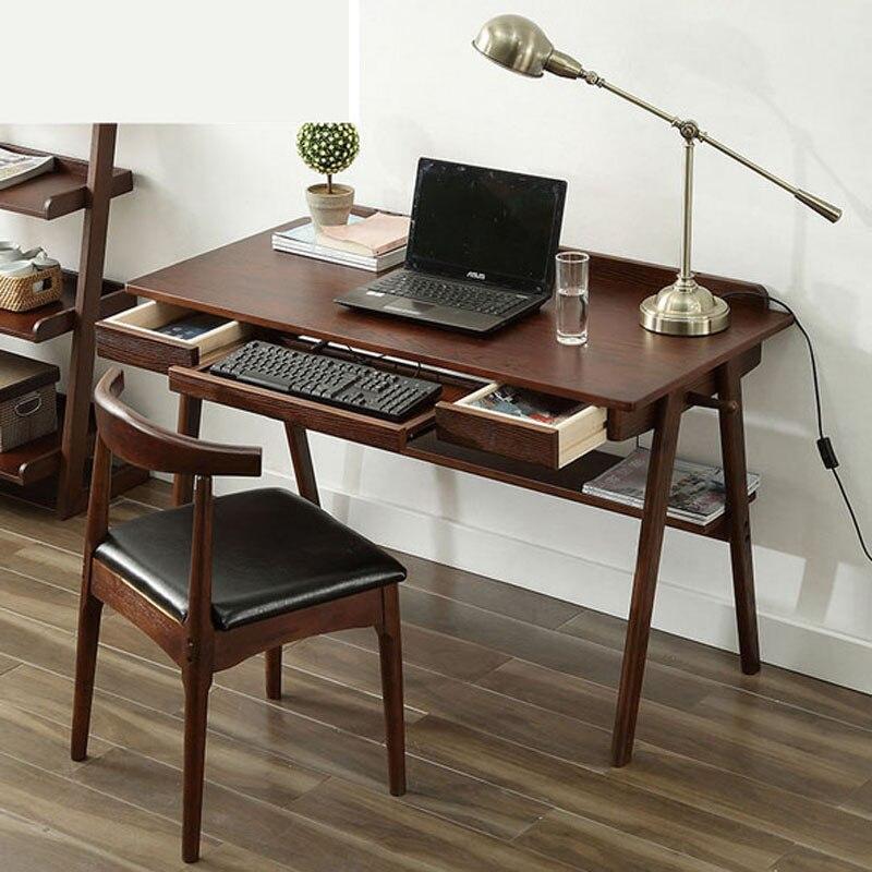Bureau nordique en bois massif maison simple étudiant ordinateur de bureau bureau bureau d'étude