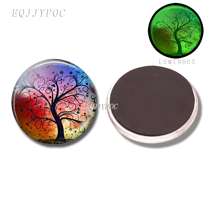 Cute Tree of Life Glass Refrigerators Magnet for Fridge Sticker Decor Luminous Magnetic Home Decoration Accessories in Fridge Magnets from Home Garden