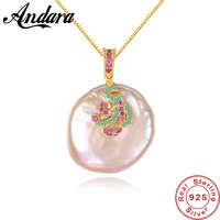 100% 925 Sterling Silver Baroque Pearl Pendant Necklace For Women Fashion Jewelry Free Shipping