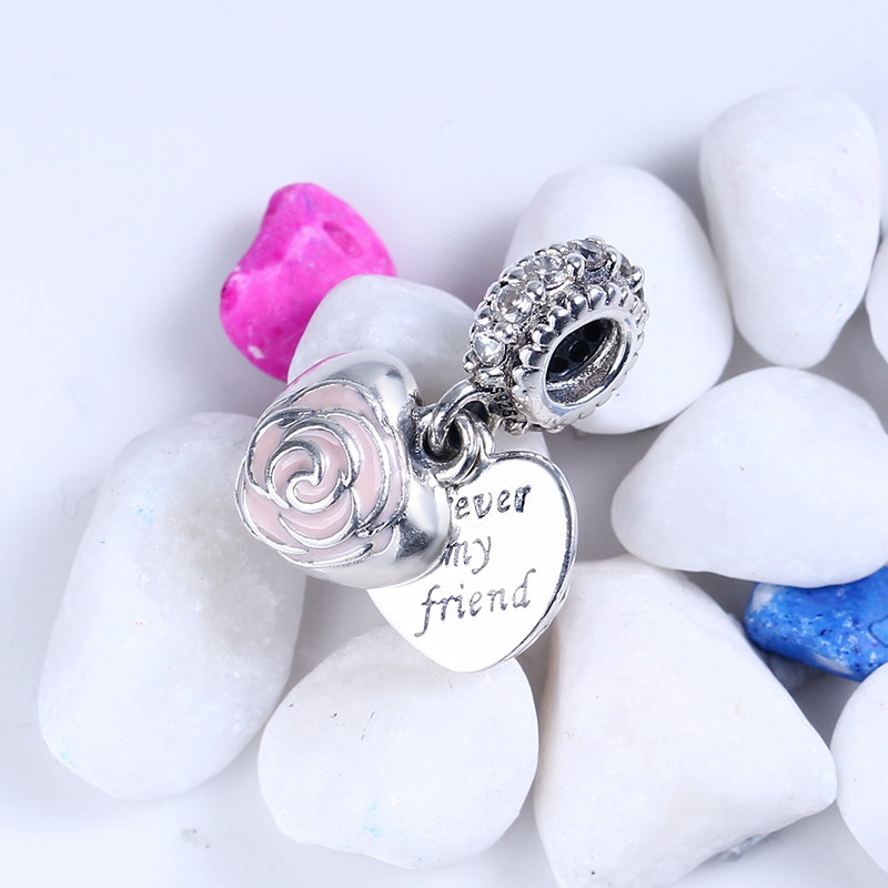100% 925 Sterling Silver Fit Original Pandora Bracelet Mothers Rose Pendant Charms DIY Beads for Jewelry Making Wholesale