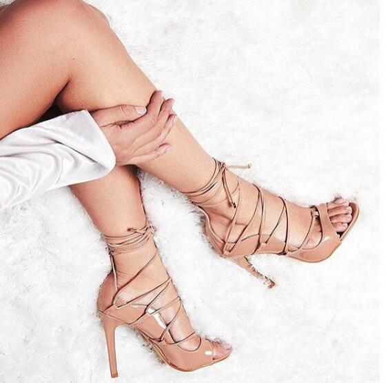 ФОТО newest nude patent leather lace-up sandal summer open toe super high sandal for woman cutouts thin heels shoes
