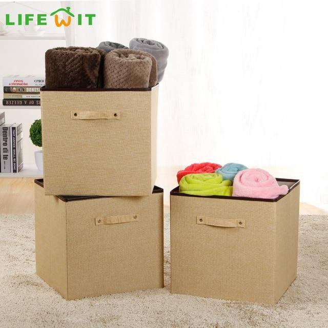 Delightful Lifewit 3 Pack Foldable Cube Storage Bins Polyester Cloth Storage Cube  Drawer Basket Bin Closet