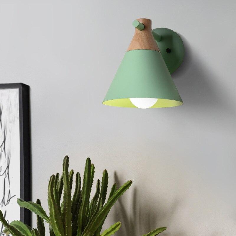 New Nordic mur lampe De Chevet lampe Chambre Moderne salon passerelle Escalier Simple pur bois forgé mur de fer lampe LED lampe