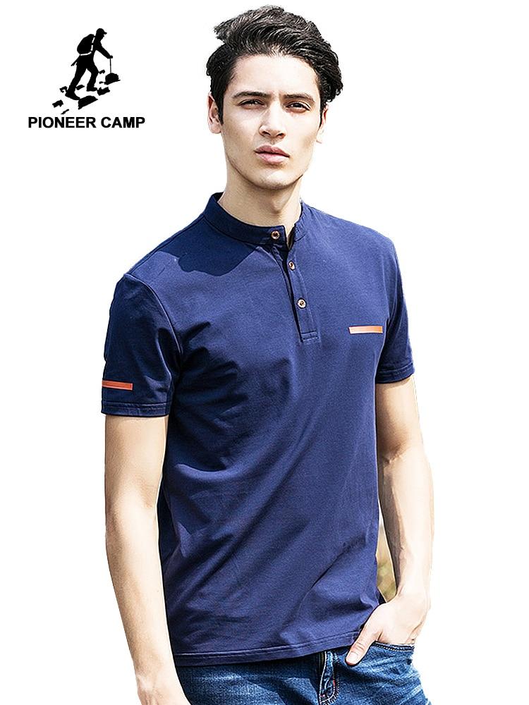 Pioneer Camp 2019 new summer mens   t     shirts   dark blue mandarin collar   t     shirt   men casual short sleeve   t  -  shirts   fitness 620028