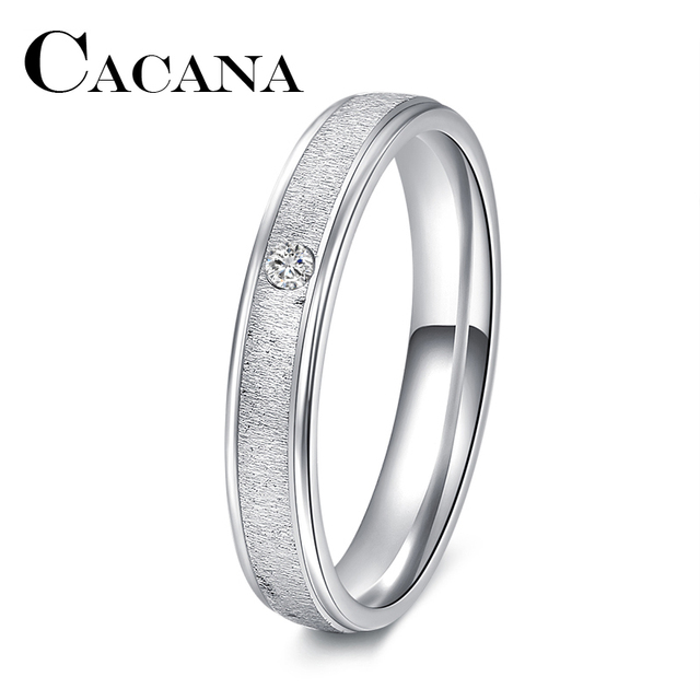 CACANA Titanium 1PC Plain Silver Color Stainless Steel Band Ring Engagement Jewe