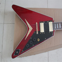 KPOLE Red Unusual Shaped Flying V Electric Guitar,Rosewood Fingerboard,Offer Customized