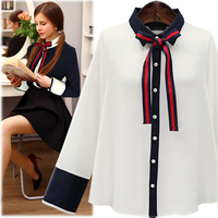 Preppy Style Bow Women Shirt Blouse 2017 Slim New Spring Shirt Long Sleeve Elegant Shirt Solid