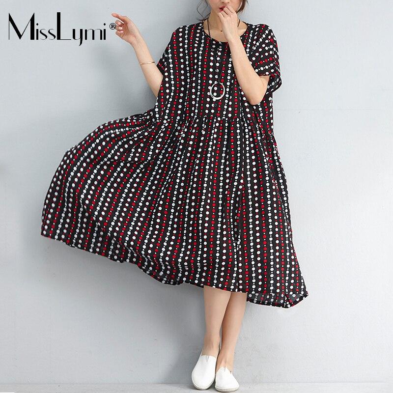 MissLymi XXXL 6XL Plus Size Women Long Dresses 2018 Summer Buttons O neck  Vintage Polka Dots Printed Loose Stripe Ruffles Dress-in Dresses from  Women s ... 847fe1e619b5