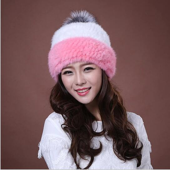 Hot sale winter knitted mink fur beanies cap with fox fur pom poms female cap real mink fur hat for women MS-9