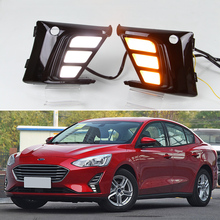 купить For Ford Focus MK5 2019 LED Daytime Running Lights DRL Fog Lamp Cover with Yellow Turn Signal Functions дешево