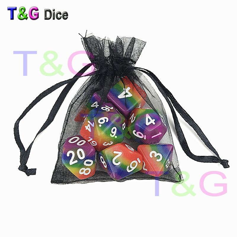 7pcs/set for Rainbow dice ,d4 d6 d8 d10 d10 d12 d20 DUNGEON and DRAGONS rpg dice game,toys and gifts for chess game