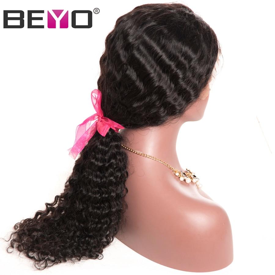 Beyo волос бразильский глубокая волна Full Lace человеческих волос парики для Для женщин предварительно сорвал с ребенком волос 10-26 дюймов-Реми б...