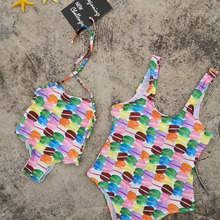 Hamburger Mother Daughter Swimwear Family Look Mommy and Me Bikini Swimsuits Matching Clothes Mom Baby Dresses Clothing