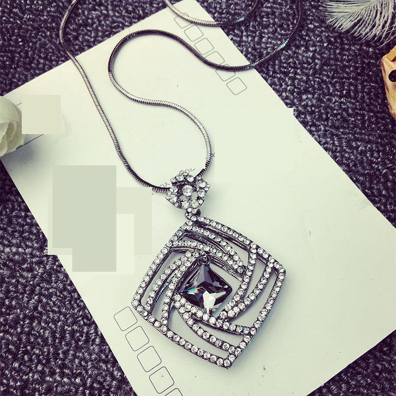 Vintage Geometrisk Krystal Lang Halskæde Kvinder Bijoux Mode Søde - Mode smykker - Foto 4