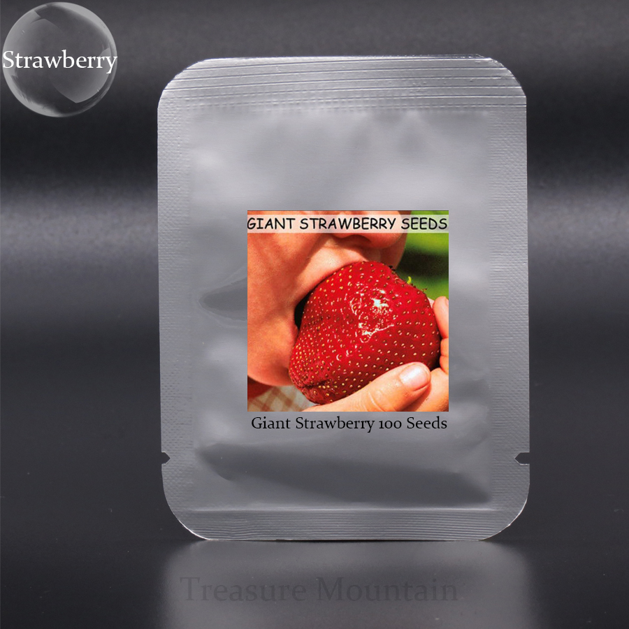 1 Professional Pack, 100 Seeds / Pack, Super Giant Strawberry Fruit Seed Apple Sized 100% True Variety NOT fake #NF349