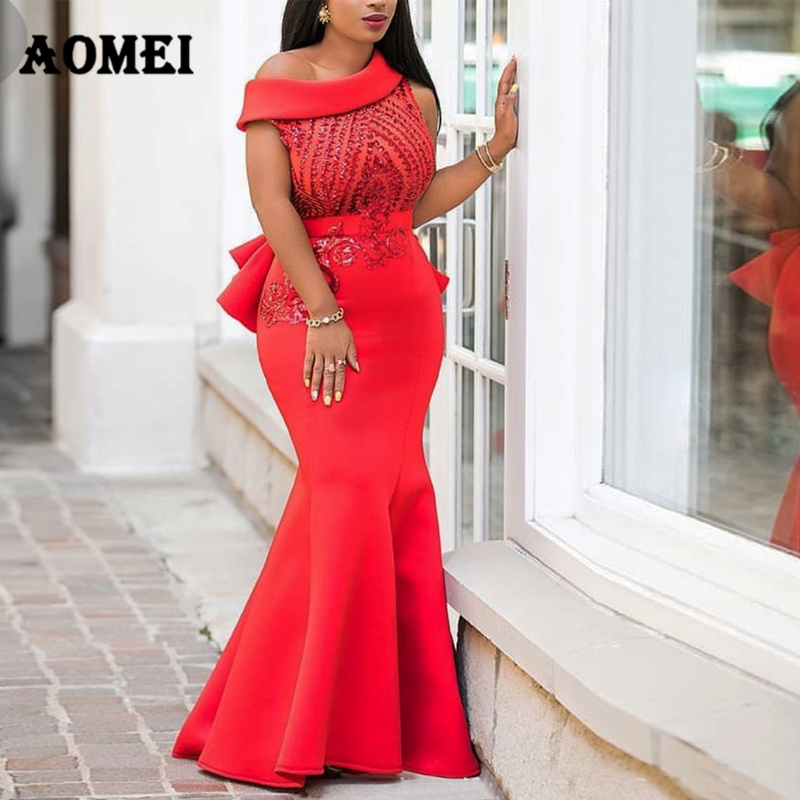 Women Dress Maxi Mermaid Night Sequined Party Wear Evening Red Classy Formal Dresses One Shoulder Glitter Gowns Summer Clothing