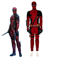 Deadpool 2 Cosplay Costume Wade Wilson Costume Red PU Leather Cosplay Jumpsuit Halloween Party Performance Game COS Apparel