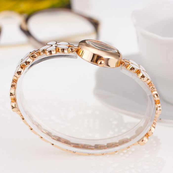Moda margaritas flor oro rosa pulsera reloj de pulsera mujer chica regalo simple elegante relojes femeninos pulsera de diamantes de imitación reloj