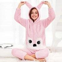 New fashion Women Winter Fleece Rabbit Hooded Long Sleeve Indoor Home Jumpsuit sleepwear cuter outwear pink set tops long pants