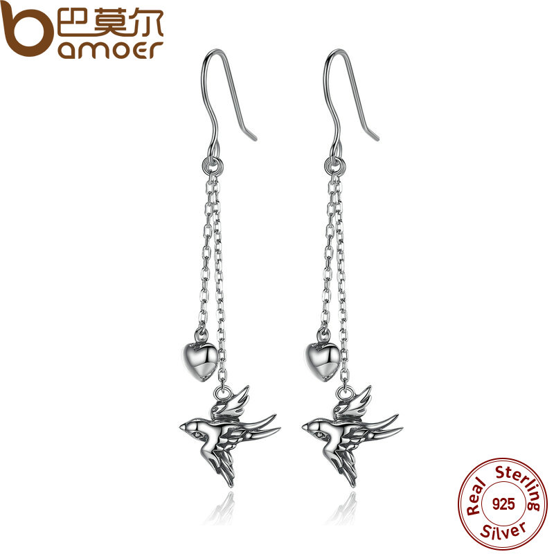 BAMOER 925 Sterling Silver Long Drop Earrings Fine Jewelry Swallow Female Drop Earrings Jewelry Earrings Accessories SCE005