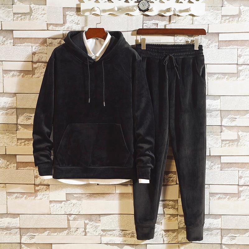 Gold Velvet Tracksuit Men's Sets Long Sleeve Hooded Top And Pants Male Sporting Suit Sweatshirt +Sweatpants Mens Clothing