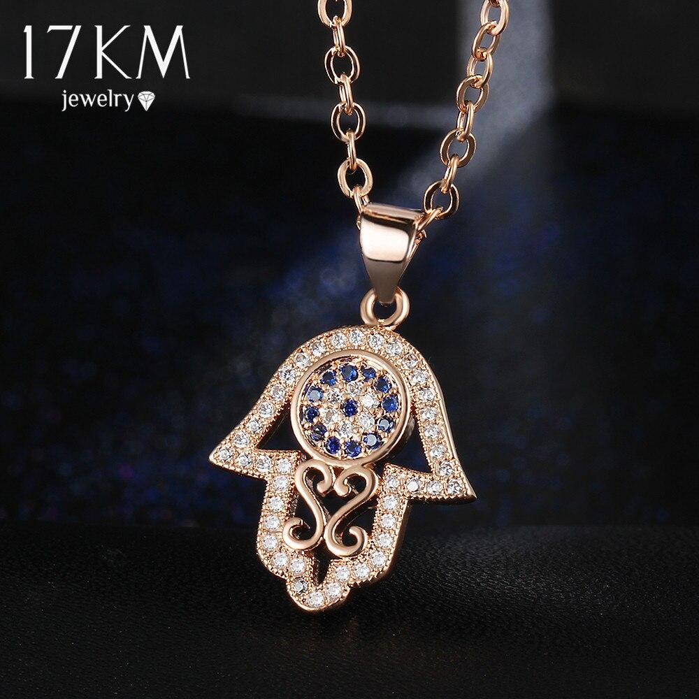 17KM 2016 Fashion Hamsa Hand Necklace Silver Color Zircon Crs