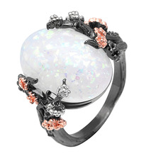 New Arrival White Purple Blue Opal ring Black Gun Fashion For Women Jewelry Plum Embellished Elegant Ladies Antique Wedding ring chic blue bead and leaf shape embellished retro ring for women